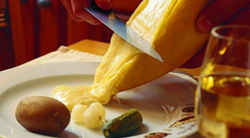 raclette scraped melted cheese