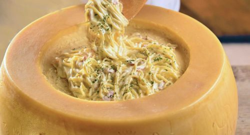 cheese wheel pasta melted cheese