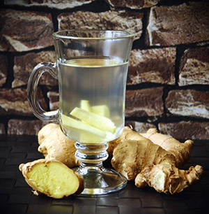 ginger infused water with ginger