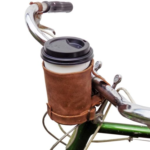 leather bike cup coffee holder