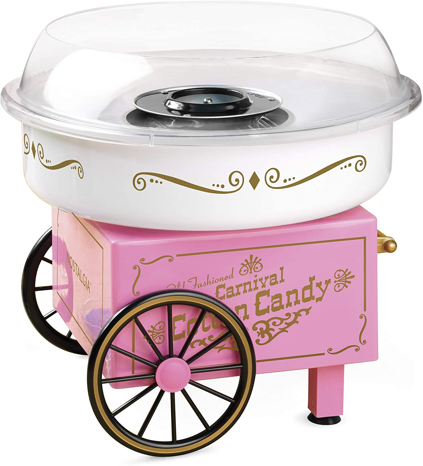 Nostalgia PCM306PK Vintage Hard Free Countertop Cotton Candy Maker, Includes 2 Reusable Cones And Sugar Scoop