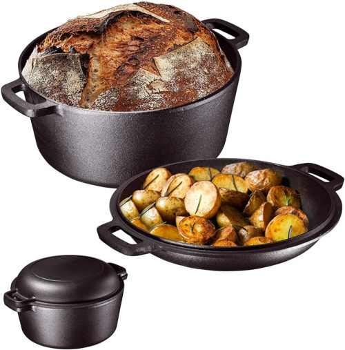 cast iron double dutch oven set