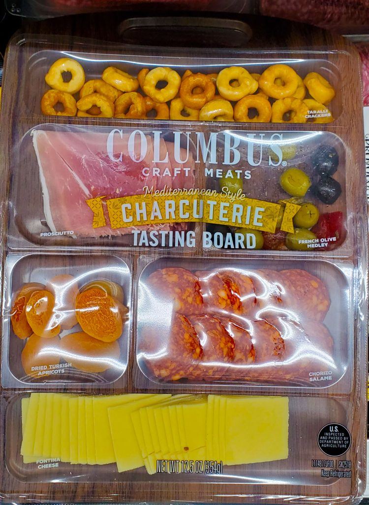 commercially packaged charcuterie platter