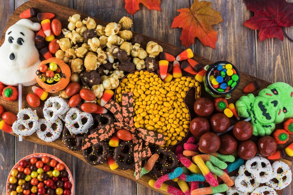 halloween charcuterie board food platter candies