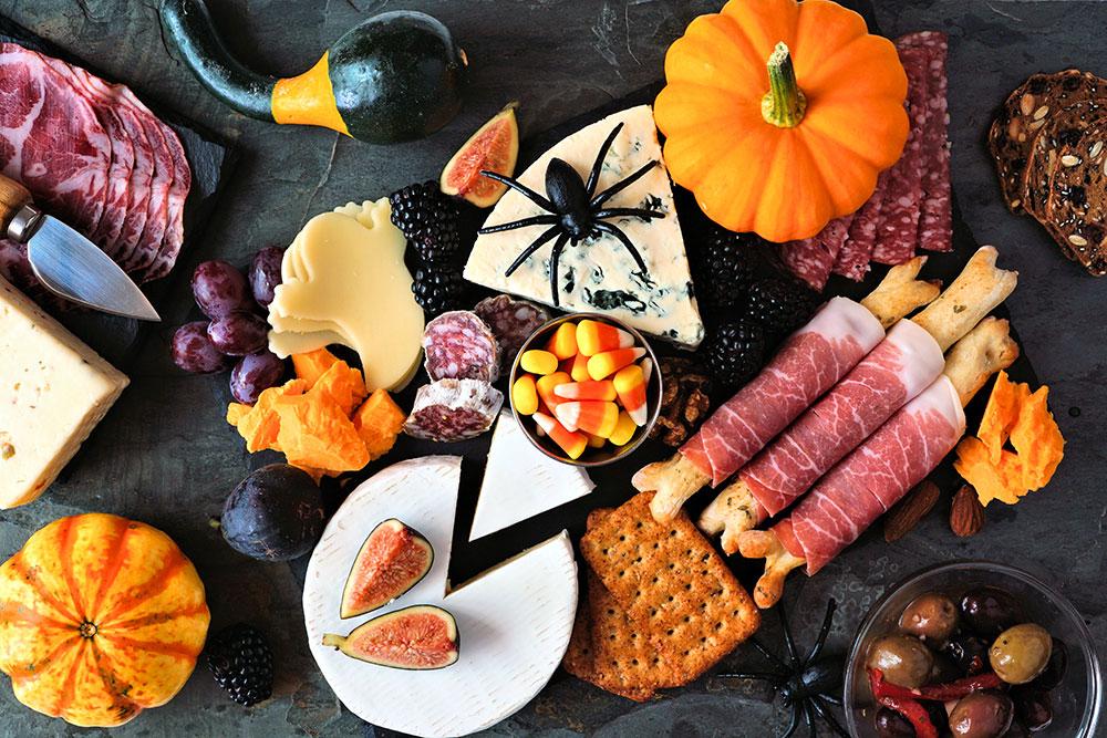 Halloween charcuterie board food platter meats