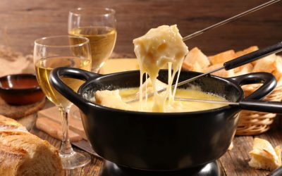 Cheese fondue: melty cheese dip turns food to gold