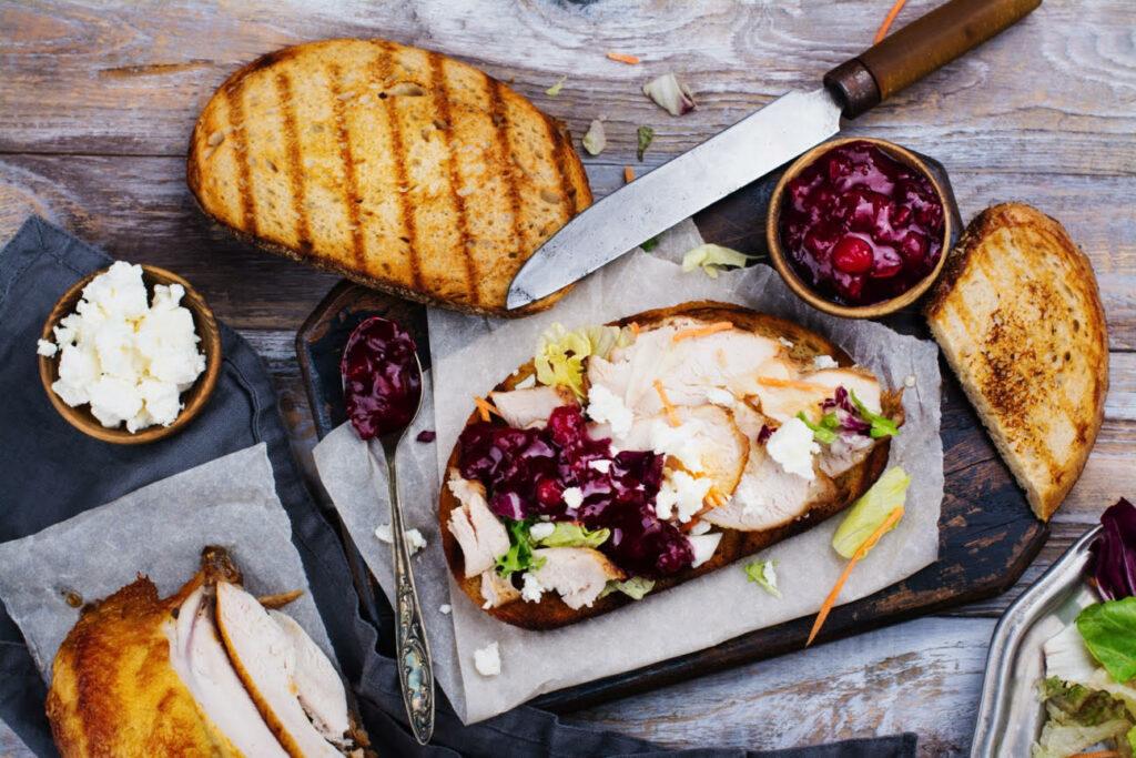 Turkey cranberry sandwich Thanksgiving leftovers
